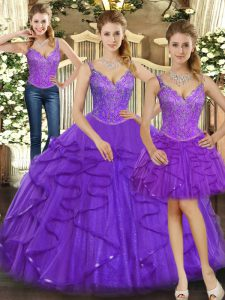 Fancy Straps Sleeveless Lace Up Quinceanera Gown Purple Organza
