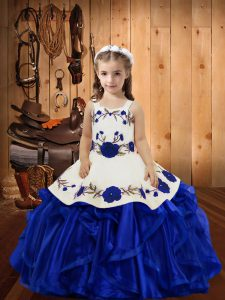 Straps Sleeveless Lace Up Pageant Dress Royal Blue Organza