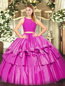 Cheap Floor Length Zipper Sweet 16 Dresses Fuchsia for Military Ball and Sweet 16 and Quinceanera with Ruffled Layers