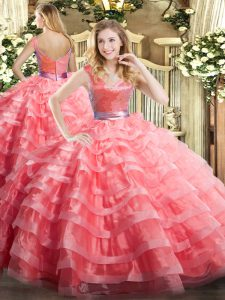 Designer Floor Length Ball Gowns Sleeveless Watermelon Red 15 Quinceanera Dress Zipper