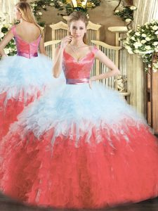Multi-color Sleeveless Organza Zipper Quince Ball Gowns for Military Ball and Sweet 16 and Quinceanera