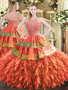 Rust Red Tulle Zipper Quince Ball Gowns Sleeveless Floor Length Beading and Ruffles and Sequins