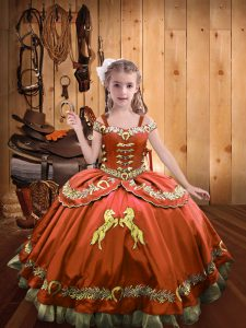Off The Shoulder Sleeveless Lace Up Kids Formal Wear Rust Red Satin