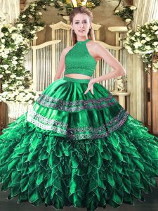 Custom Fit Dark Green Sleeveless Floor Length Beading and Embroidery and Ruffles Backless Quinceanera Dresses