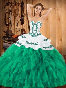 Turquoise Satin and Organza Lace Up 15th Birthday Dress Sleeveless Floor Length Embroidery and Ruffles