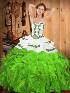 Satin and Organza Strapless Sleeveless Lace Up Embroidery and Ruffles 15 Quinceanera Dress in