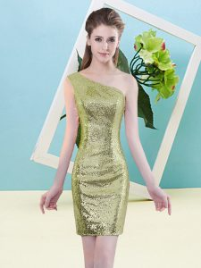 Delicate Column/Sheath Prom Gown Yellow Green One Shoulder Sequined Sleeveless Mini Length Zipper
