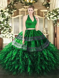 Edgy Dark Green Sleeveless Organza Zipper Sweet 16 Dress for Military Ball and Sweet 16 and Quinceanera