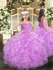 Graceful Lilac Sleeveless Organza Lace Up Pageant Dress Wholesale for Party and Quinceanera