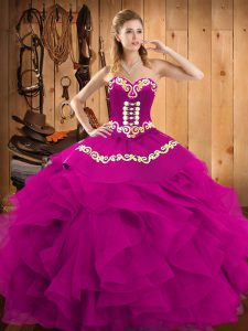 Sweet Floor Length Lace Up Ball Gown Prom Dress Fuchsia for Military Ball and Sweet 16 and Quinceanera with Embroidery and Ruffles