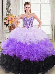 Multi-color Ball Gowns Organza Sweetheart Sleeveless Beading and Ruffles Lace Up Quinceanera Gown
