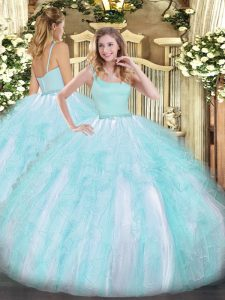 On Sale Straps Sleeveless Quinceanera Gown Floor Length Beading and Ruffles Aqua Blue Tulle