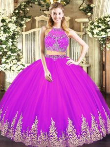 Floor Length Fuchsia Quinceanera Gowns Tulle Sleeveless Beading and Appliques