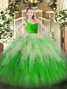 Multi-color Ball Gowns Straps Sleeveless Organza Floor Length Zipper Ruffles Sweet 16 Dress