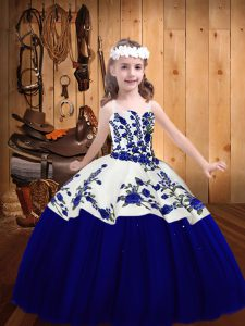 Trendy Floor Length Ball Gowns Sleeveless Royal Blue Pageant Dress for Teens Lace Up