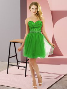 Sweet Green Sleeveless Mini Length Beading Zipper Prom Dress