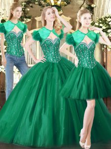 Fantastic Green Ball Gown Prom Dress Military Ball and Sweet 16 and Quinceanera with Beading Sweetheart Sleeveless Lace Up
