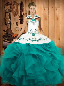 Fancy Teal Lace Up Halter Top Embroidery and Ruffles Sweet 16 Dresses Tulle Sleeveless