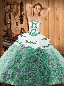Deluxe Sleeveless Sweep Train Embroidery Lace Up 15th Birthday Dress