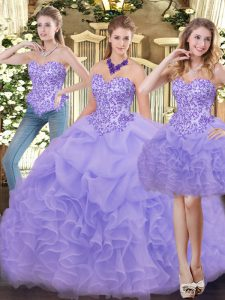 Sleeveless Zipper Floor Length Appliques and Ruffles Sweet 16 Dresses