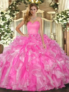 High Class Rose Pink Lace Up Sweetheart Beading and Ruffles Quinceanera Gowns Organza Sleeveless