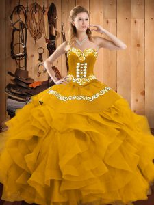 Super Sleeveless Lace Up Floor Length Embroidery and Ruffles Quinceanera Dresses