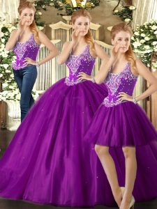Purple Straps Lace Up Beading 15th Birthday Dress Sleeveless