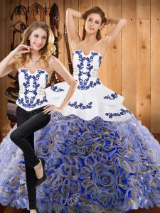 Sleeveless Fabric With Rolling Flowers Brush Train Lace Up Quinceanera Dress in Multi-color with Embroidery