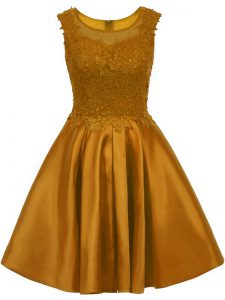 Brown A-line Satin Scoop Sleeveless Lace Mini Length Zipper Dama Dress for Quinceanera