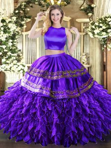 Fabulous Purple Sleeveless Ruffles and Sequins Floor Length Ball Gown Prom Dress