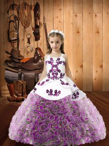 Fashion Multi-color Straps Neckline Beading Child Pageant Dress Sleeveless Lace Up