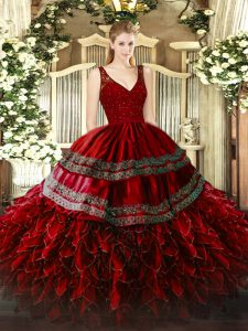 Discount Ball Gowns Quinceanera Gown Wine Red V-neck Organza Sleeveless Floor Length Zipper