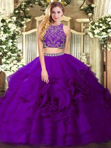 Sweet Sleeveless Zipper Floor Length Beading and Ruffled Layers Quince Ball Gowns