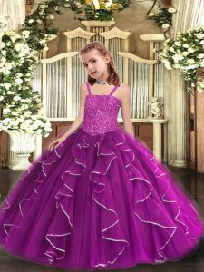 Tulle Straps Sleeveless Lace Up Beading and Ruffles Pageant Dress for Womens in Purple