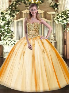 Designer Gold Quinceanera Gowns Military Ball and Sweet 16 and Quinceanera with Beading Sweetheart Sleeveless Lace Up