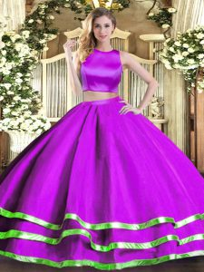 Dazzling Purple Two Pieces Tulle High-neck Sleeveless Ruching Floor Length Criss Cross Sweet 16 Quinceanera Dress