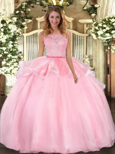 New Style Pink Organza Clasp Handle Scoop Sleeveless Floor Length Quinceanera Dress Lace