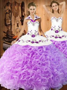 Charming Lilac Sleeveless Fabric With Rolling Flowers Lace Up Sweet 16 Dresses for Military Ball and Sweet 16 and Quinceanera