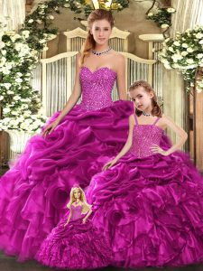 Ball Gowns 15th Birthday Dress Fuchsia Sweetheart Organza Sleeveless Floor Length Lace Up