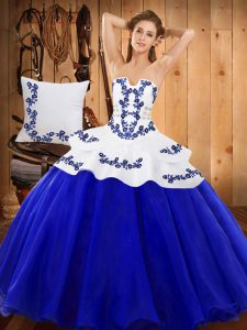 Royal Blue Tulle Lace Up Strapless Sleeveless Floor Length Ball Gown Prom Dress Embroidery