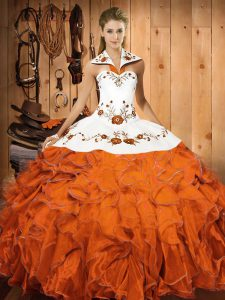 Cute Halter Top Sleeveless Lace Up Quinceanera Gown Orange Red Satin and Organza