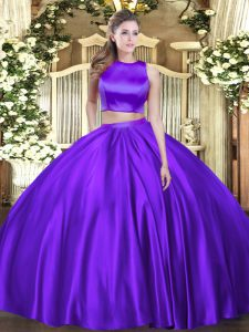 Fantastic High-neck Sleeveless Quinceanera Dresses Floor Length Ruching Eggplant Purple Tulle
