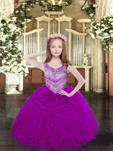 Nice Fuchsia Ball Gowns Scoop Sleeveless Organza Floor Length Lace Up Beading and Ruffles Pageant Dresses