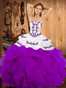 Custom Made Floor Length Lace Up Quince Ball Gowns Purple for Military Ball and Sweet 16 and Quinceanera with Embroidery and Ruffles