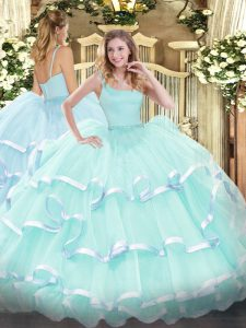 Dazzling Floor Length Ball Gowns Sleeveless Apple Green Quinceanera Dress Zipper