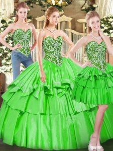 Vintage Sweetheart Lace Up Beading and Ruffled Layers Ball Gown Prom Dress Sleeveless