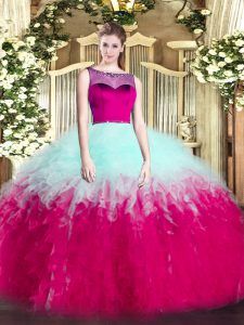 Superior Multi-color Scoop Neckline Beading and Ruffles Quinceanera Dresses Sleeveless Zipper