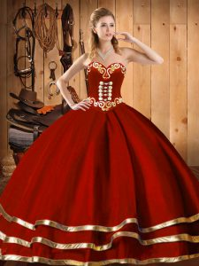 Sexy Floor Length Ball Gowns Sleeveless Wine Red Quinceanera Dresses Lace Up