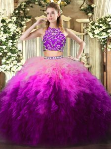 Multi-color Zipper Sweet 16 Quinceanera Dress Beading and Ruffles Sleeveless Floor Length