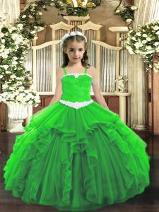Excellent Green Straps Lace Up Appliques and Ruffles Glitz Pageant Dress Sleeveless